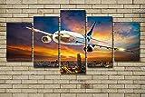 DOORWD Wandbilder Home Dekorativ Modern 5-teilig Großplakat Leinwanddruck Flugzeug des blauen Himmels 30x40cmx2 30x60cmx2 30x80cmx1 Kein Rahmen