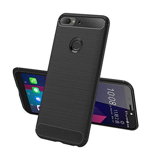 TopACE Hülle für HTC Desire 12 Plus, Flexiblem TPU Silikon Hybrid Schutzhülle Kohlenstoff-Fasern Tasche Slim-Fit Case für HTC Desire 12 Plus (Schwarz)