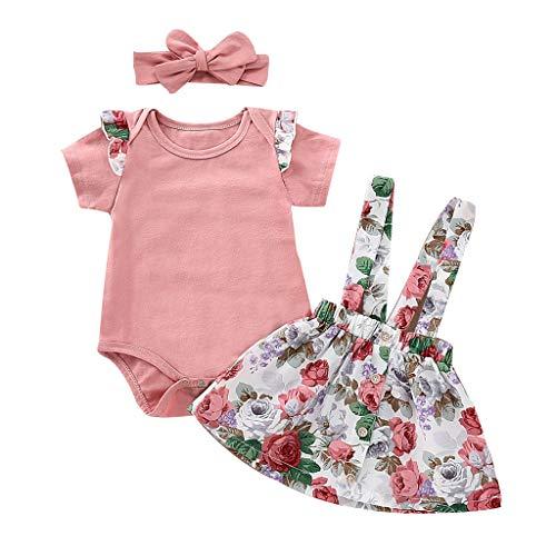 Xuefoo Babykleidung Kurzarm Rosa Rüschenspielanzug Strumpf Blumenrock Kleid mit Stirnband Sommerkleidung Set, 0-3M, Rosa