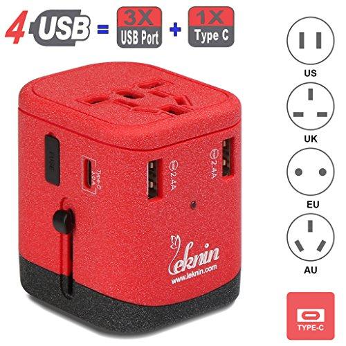 Universal Reiseadapter Ladegerät mit USB Type C - Leknin Reisestecker mit 4 USB für Weltweit Steckdosen US UK EU AU, Wechselspannung & Überspannungsschutz, 2 USB A für schnelles Aufladen (Rot)