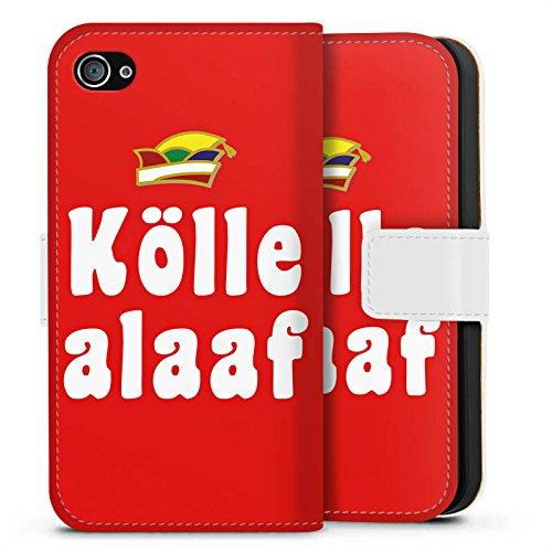 Apple iPhone X Silikon Hülle Case Schutzhülle Köln Karneval Fasching Sideflip Tasche weiß