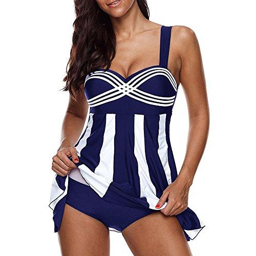 Junjie Damen Sexy Bademode,Halter Blumendruck Tankini Baden Asymmetrische Sling Bikini Badeanzug Damen Push-up Set Badeanzug Baden Bauchweg Triangel Zweiteilige Strandkleidung Strandmode Kleid(S-5XL)