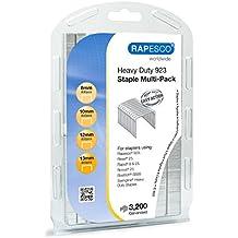 Rapesco - Selección de grapas de tipo 923, tamaños de 8, 10, 12 y 13 mm, multipack 3200 unidades