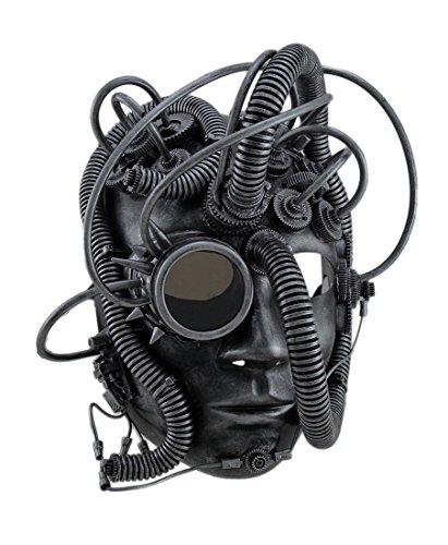 Kostüm Für Cyborg Erwachsene - Zeckos Man Droid Full Face Steampunk Cyborg Maske mit Brille - Silber - Einheitsgröße