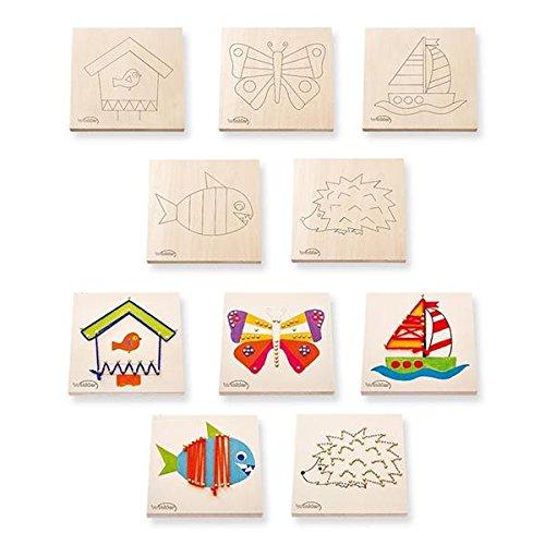 matches21 Nagelbilder 5er Set Motive Fisch, Schmetterling, Igel Schiff, Vogelhaus Bastelset Bausatz für Kinder ab 6 Jahren