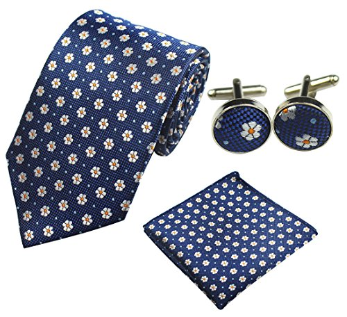Mens Tie, Fashion Woven Neck Tie Handkerchief Set and Tip Clip Cufflinks as Birthday Gifts for Him