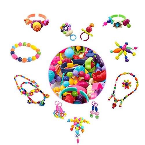 lvedu Pop Perlen, 370PCS Arts und Crafts Spielzeug Geschenke für Kinder Alter 4yr-8yr, Jewelry Making-Kit für 4, 5, 6, 7Jahre alte Mädchen, Halskette und Armband und Ring Kreativität DIY Set (Pop-art-ringe-handwerk)