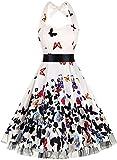 oten Damen 1950er Vintage Kleider Schulterfrei Blumen Country Rockabilly Neckholder Cocktail Swing Tee Kleid, Schmetterling 1, L