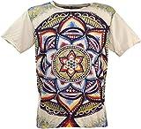 Guru-Shop Mirror T-Shirt, Herren, Universum/Beige, Baumwolle, Size:L, Bedrucktes Shirt Alternative Bekleidung