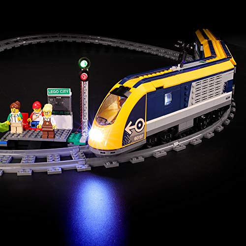 BRIKSMAX Kit de LED pour Lego City Le Train de passagers télécommandé, Compatible avec la Maquette Lego 60197, La Maquette de Construction n'est Pas Incluse