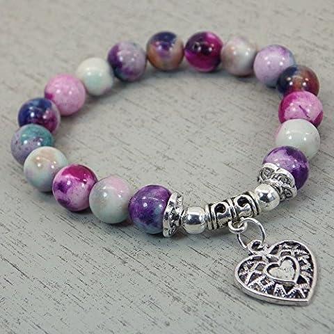Bracelet chic Thurcolas en perles de Jade teinté en bleu et violet avec pampille en forme de coeur filigrané en argent antique