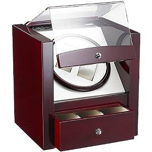 St. Leonhard Uhrenschwenker: Design-Uhrenbeweger für 2 Automatik-Uhren, edle Rotholz-Optik (Uhrenbeweger Automatikuhren)