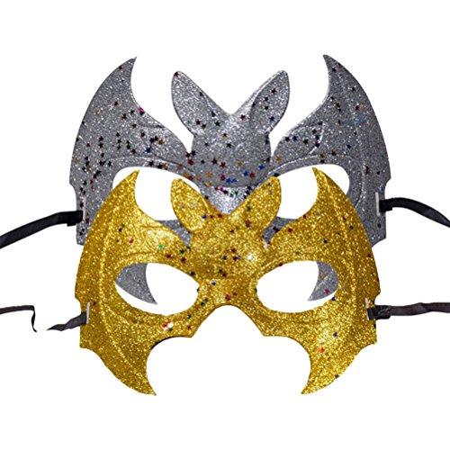 BESTOYARD Halloween Fledermaus Masken Kinder Erwachsene Glitter Halb Maskerade Masken Party Favors Supplies Dekoration 2 Stücke