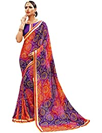 Purple Georgette Bandhani Printed Lace Border Saree With Blouse Piece