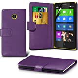 (Purple) Nokia X Custom Designed Stilvolle Accessoires zur Auswahl Schutzmaßnahmen Kunst Credit / Debit-Karten-Leder-Buch-Art Wallet Case Hülle & LCD-Display Schutzfolie von Hülle Spyrox