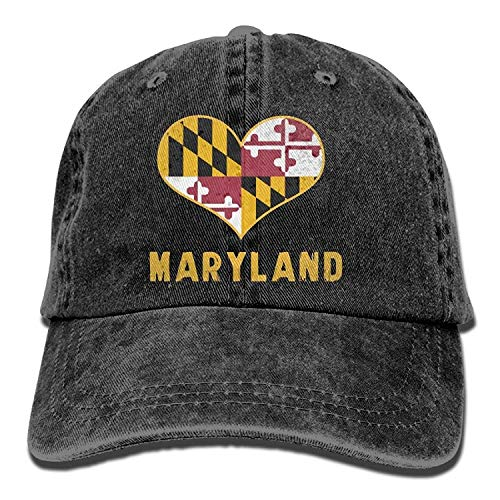 Zhgrong Caps Maryland State Flag Vintage Jeans Baseball Cap for Men and Women Cap Logo
