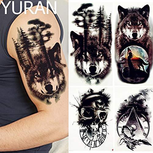 Tzxdbh black forest wolf tatuaggi temporary men braccio gambe body art tattoo stickers donna luna uccelli scorpione big