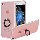 """Coque iPhone 7, Yoowei Cover iPhone 7 avec 360 Degrés Rotation Anneau de Support [Ring Holder] Transparent Gel Silicone Étui Housse de Protection Pour iPhone 7 4.7"""", Noir Ring"""