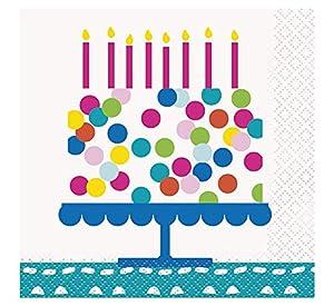 Unique Party- Servilletas de Papel Fiesta de Cumpleaños de Tarta Confeti, 16 Unidades, Multicolor, 13 cm (49601)