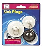 Bathroom & Kitchen Rubber Sink Plugs - 3 Pack Fits Most Plugs by 151