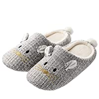 Tofern Mens and Womens Cute Fuzzy Animal Slippers Memory Foam Fun House Slippers for Halloween Christmas, Mouse Grey, 6-7 UK