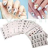 kit 50 adesivi sticker nail art decorazione unghie trasferimento acqua unghia