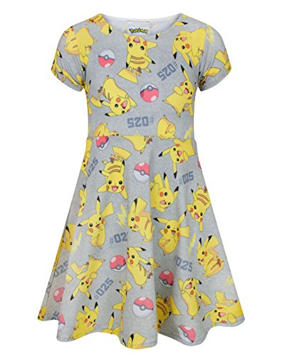 Pokemon Pikachu Girl's Short Sleeved Dress (9-10 Years)