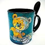 ##AUSWAHL AN BÄRENTASSEN## Löffeltasse Kaffeetasse Teetasse Becher Valentinstag Bär mit Herz bear Geschenktasse Liebe Sunnywall® (81 Maler Künstler streichen schwarz)