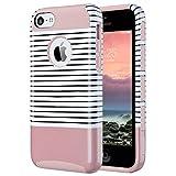Coque iPhone 5c, ULAK Housse Étui Hybride Armour Couche 2 en TPU + PC Anti-Chocs dur Coque pour Apple iPhone 5c (Or Rose Stripes)