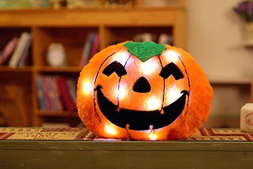 Kürbis Kissen Musik LED leuchtende Kopfkissen Kürbis Überwurf Kissen Deko Kissen für Sofa Cute Cartoon Kürbis für Halloween Halloween Geschenk ()