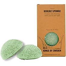 Natur-Konjac-Schwamm - 2er-Set - für Gesichtspflege mit Aloe Vera - feuchtigkeitsspendend für trockene Haut - biologisch abbaubar von Kings of Sweden