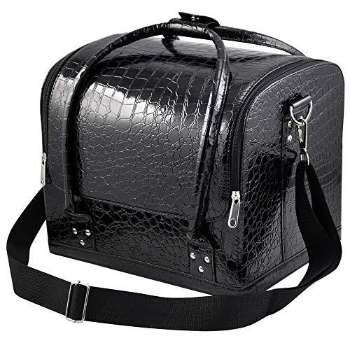 Yaheetech Beauty case Kosmetikkoffer Kulturtasche Wasserfest Kosmetiktasche mit Schultergurt (Krokos schwarz)