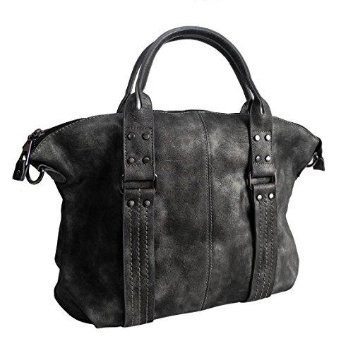 Moderne XL Handtasche von Jennifer Jones - Schultertasche Umhängetasche Shopper Tragetasche Damentasche Woman's Bag ( Schwarz Metallic ) - präsentiert von ZMOKA® (Shopper Lady)