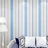 Bluelover Mode moderne Horizontal blanc bleu rayé papier peint pour salon chambre à coucher - bleu...