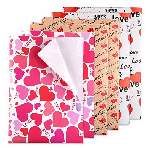 TUPARKA 6 Stücke Herz Geschenkpapier Gedruckt Gemusterte Tissue Valentines Geschenkpapier Rot Seidenpapier für Geschenkpapier Versorgung (50 * 70 CM)