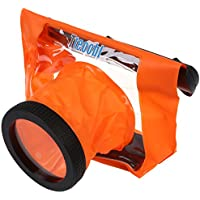 Tteoobl Naranja Cubierta impermeable de bolsa bolsillo para DSLR SLR Canon 600D 40D 60D 7D 5D, Nikon D90 D80 D700 D5100 7000 (Camara no esta incluido)