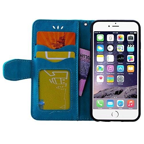 GrandEver Cover, iphone 6(4.7) Custodia in pelle Motivo Hert Cover multicolore stampa per iPhone 6S Strap Scratch Wallet Case–Cover flip cover rigida con funzione supporto per carte di credito e ch blu
