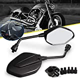 Aolead Motorrad Spiegel Rückspiegel 8mm/10mm Lenkerendenspiegel ABS Universal Spiegel für Motorrad Sport Bike Scooter Choppers Cruiser Schwarz