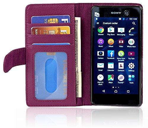 Cadorabo Hülle für Sony Xperia M5 - Hülle in Bordeaux LILA - Handyhülle mit 3 Kartenfächern - Case Cover Schutzhülle Etui Tasche Book Klapp Style