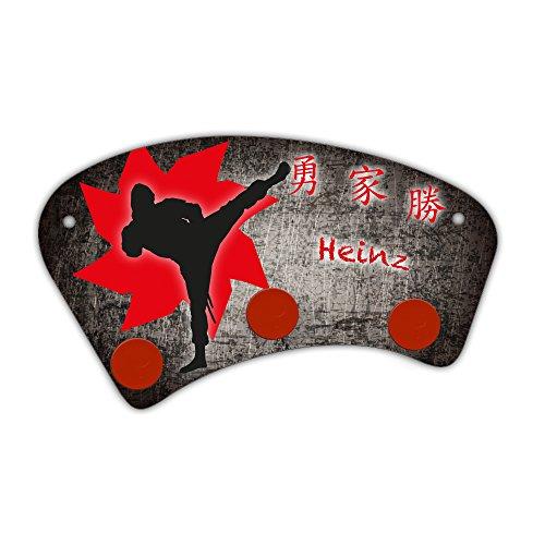 Wand-Garderobe mit Namen Heinz und schönem Ninja-Motiv für Jungen - Garderobe für Kinder - Wandgarderobe