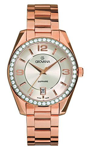 Grovana Unisex Quartz Watch with Silver Dial Analogue Display and Gold Stainless Steel Bracelet 5081.7162