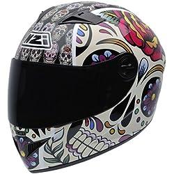 NZI 050264G582 Vital Mexican Skulls - Casco de Moto, Multicolor, Talla 57 (M)
