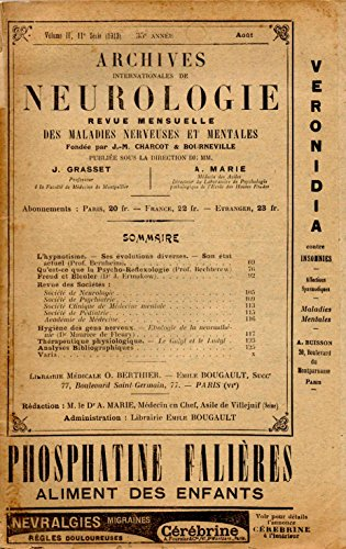 Archives internationales de Neurologie Volume II, 11e série 35e année