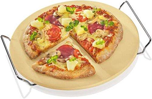 Küchenprofi BBQ Pizzastein rund mit Gestell, für Backofen und Grill, aus Cordierit