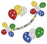 Riethmüller 450171 - Deko Set - Herzlich Willkommen, Girlande und 19 Luftballons