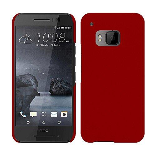 HTC One S9 - Rubber Schutzhülle Gummiert Hybrid Hard Case Schutz Cover Etui Hülle Tasche in Rot - RT-Trading