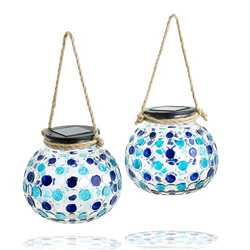 Gadgy ® Solar Table Lanterns Set | 2 Pieces | Glass Lamps with LED Light | Garden Balcony Deco with Mosaic Light Effect and Rope Handle
