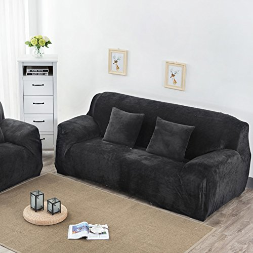 SCEDGJDVXBB Elastische Stretch Sofa Cover slipcover,Sofa Leder Sofa solide colorsofa cushion1 deckt Einfache Kombination verdickte plüschsofa slipcover eng gewickelt-schwarz Loveseats -