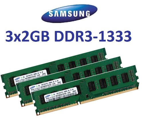 6GB Triple Channel Kit Samsung original 3 x 2 GB 240 pin DDR3-1333 (1333Mhz, PC3-10600, CL9) 128Mx8x16 double side (2x M378B5673FH0-CH9) für DDR3 Triple Channel (i7) Mainboards -