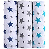 haus & kinder Twinkle Collection Cotton Muslin Swaddle Wrap for New Born Baby - Pack of 3 (Size 100 cm by 100 cm, Navy, Grey, Turquoise)